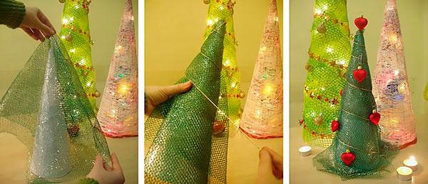 Елка из синельной проволоки на Новый год, фото, мк пошагово