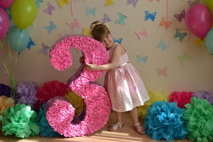 Cifra3 Как сделать цветок из салфетки своими руками поэтапно для цифры на День Рождения. Фото, видео