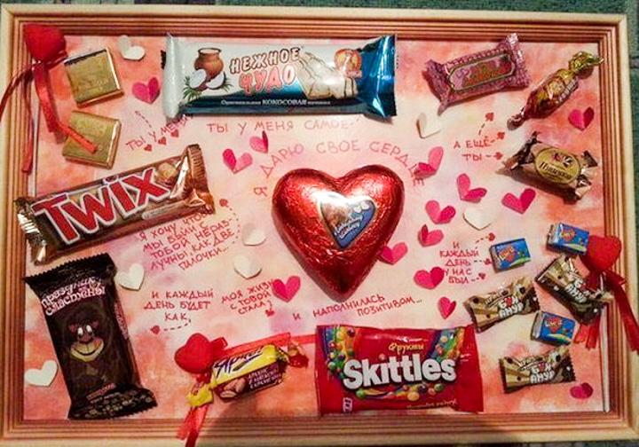Открытка сделай сам с днем рождения из шоколадок