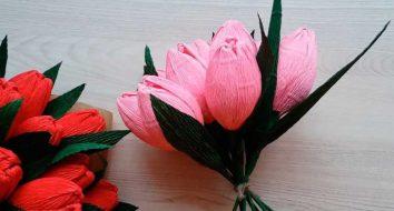 Тюльпан из гофрированной бумаги своими руками